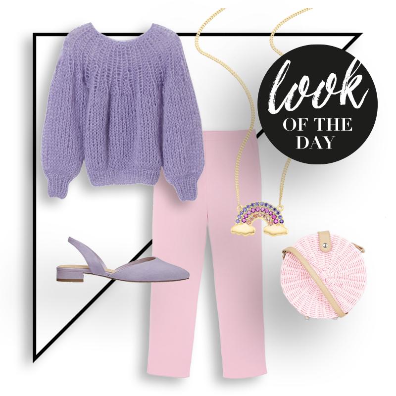 collage mit lilafarbenen strickpullover, rosafarbener hose, lilafarbenen schuhe, einer kette und schuhen
