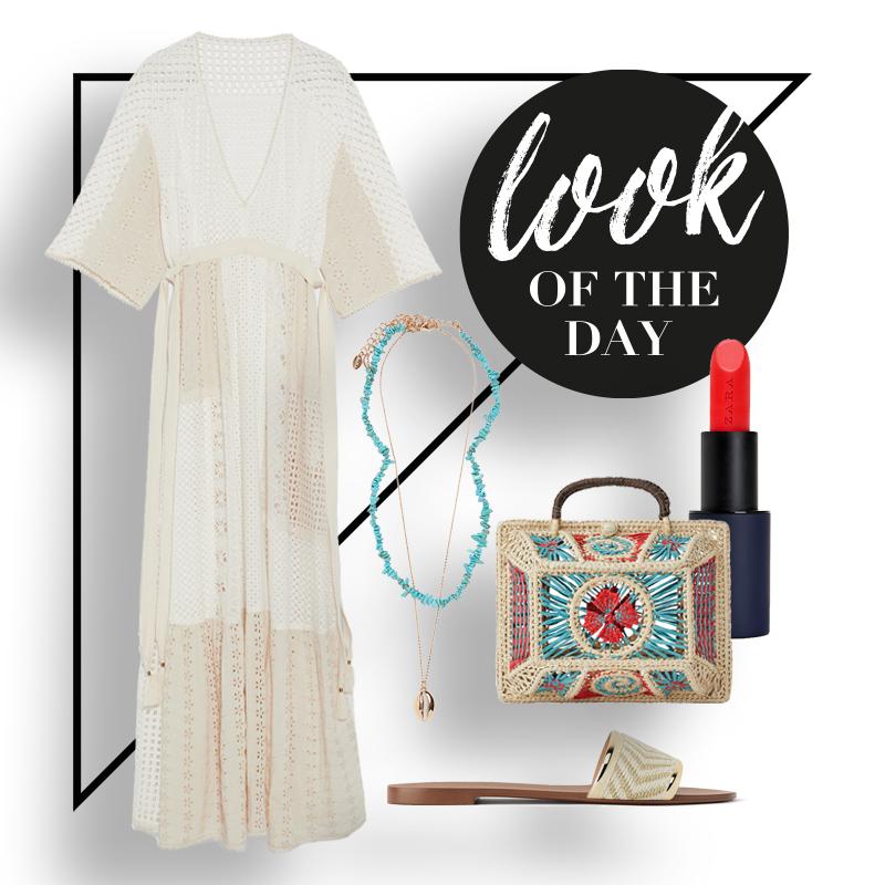 collage mit einem kleid, einer sandale, tasche, kette und einem lippenstift im ethno-look